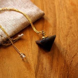 Pendule radiesthésie quartz fumé pyramide