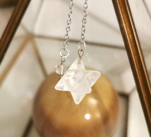 pendule cristal de roche merkaba