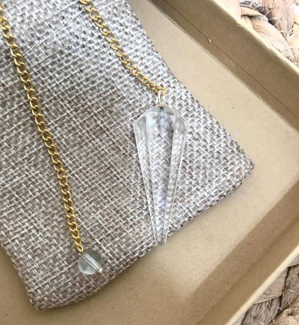 pendule divinatoire doré cristal de roche