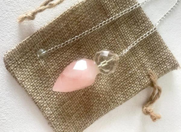 pendule goutte quartz rose