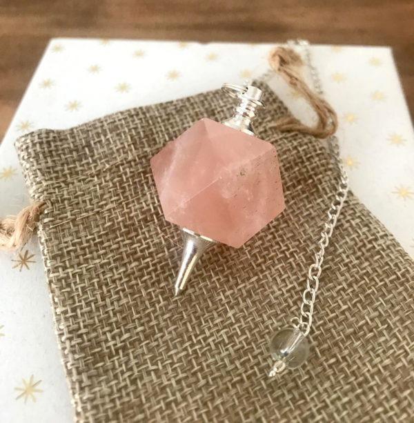 pendule dodécaèdre quartz rose
