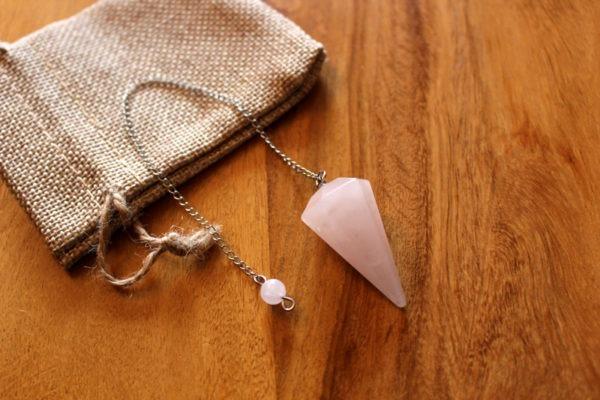 pendule radiesthésie quartz rose
