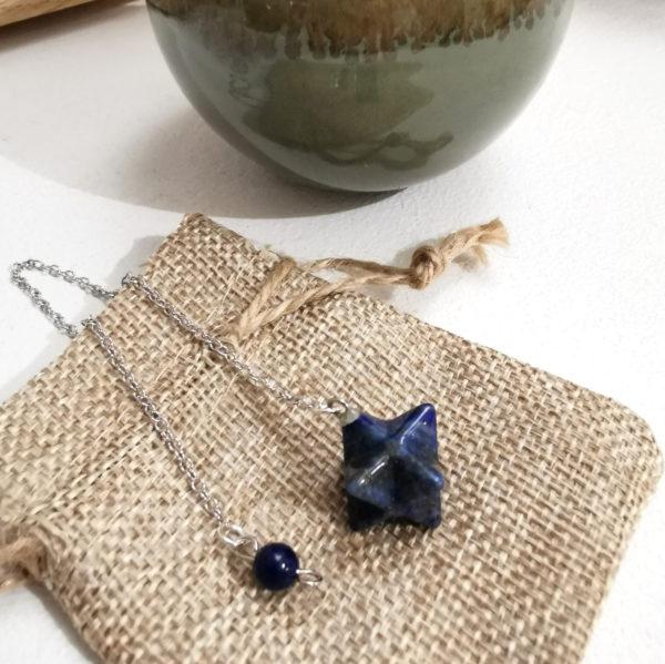 pendule radiesthésie lapis lazuli merkaba